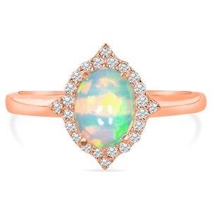 14k Rose Gold Vermeil Opal Ring-Serenity